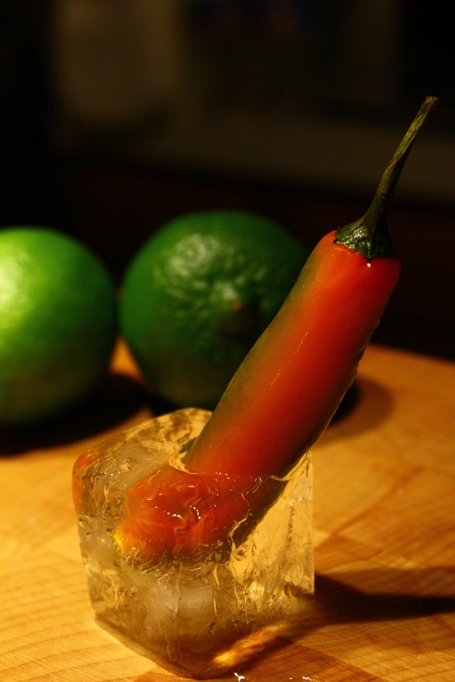 Freeze some peppers into your ice cubes for garnish.